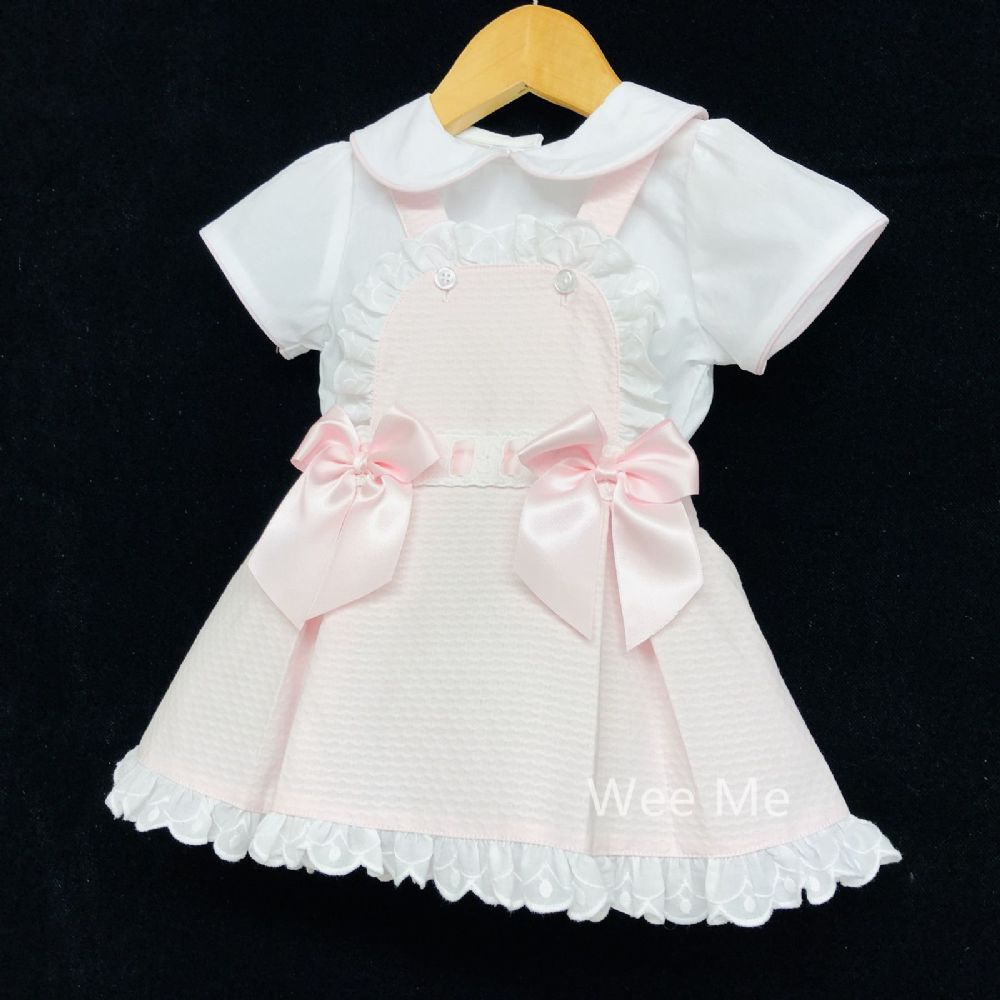 *SALE* Stunning Wee Me Baby Girl White Spanish Dress with Pink Organza Details