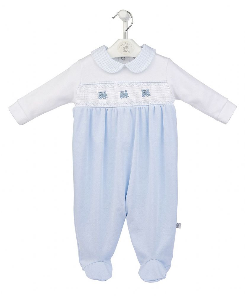 Stunning Baby Boy Blue Cotton Smocked Play Suit with Train Soft Cozy 3-6 Months